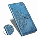 Wallet Compatible with iPhone 11 Pro 5.8 inch Case, [Flower Embossed] with Card Slots and Stand Premium PU Leather Wallet Flip Protective Magnetic Closure Cases Cover for iPhone11 Pro 5.8 Inch-Blue