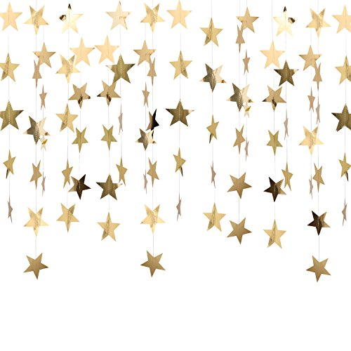 Whaline 52 Feet Reflective Star Paper Garland Sparkling Star Bunting Banner for Wedding Birthday Party Holiday Decorations, 2.75 Inches (Gold)