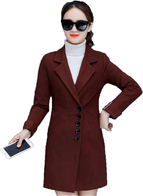 Beltnossnk Medium Long Slim Woolen Coat Overcoat TurnDown Collar Woolen Coat Tops