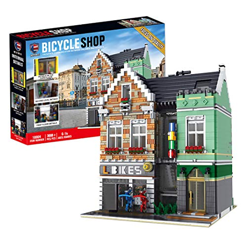 TopBau Architecture Bausteine Modell- 3668Teilen Fahrradladen Gebäude Modellbausatz mit LED Beleuchtung, Klemmbausteine BAU- & Konstruktionsspielzeug Geeignet für Erwachsene und Kinder