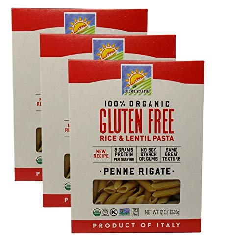 Bionaturae Organic Gluten-Free Rice and Lentil Italian Pasta | Penne Rigate (12 Ounces) | 3 Count