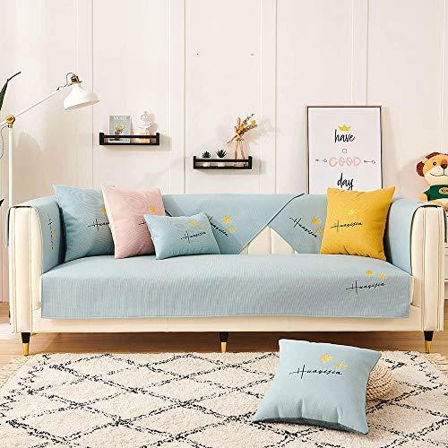 Sofá en Forma de L Sofa Cover Cubierta de sofá para sofá de Tela/sofá de Cuero,Bordado de Hojas de Arce,Funda de sofá Antideslizante,sofá universales Modernos-Agua Azul_70 * 120cm