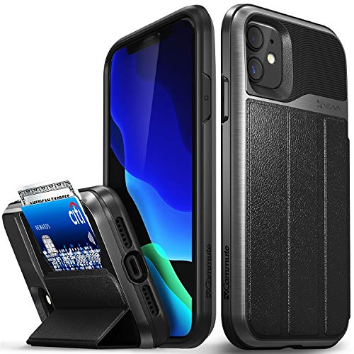 """Vena vCommute Wallet Case Compatible with Apple iPhone 11 (6.1""""-inch 2019), (Military Grade Drop Protection) Flip Leather Cover Card Slot Holder with Kickstand - Space Gray"""
