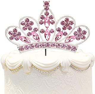 Bling Rhinestone Crystal Crown Cake Topper - Best Birthday Anniversary Wedding Party Decorations Supplies Pink
