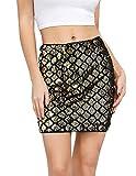 Kate Kasin Women Sparkle Bodycon Mini Skirt Sequin Party Cocktail Short Pencil Skirt Gold, Small