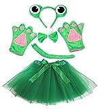 petitebelle Grenouille Costume Bandeau Noeud Papillon Queue Gants Vert Tutu Set pour Lady - vert - Taille unique