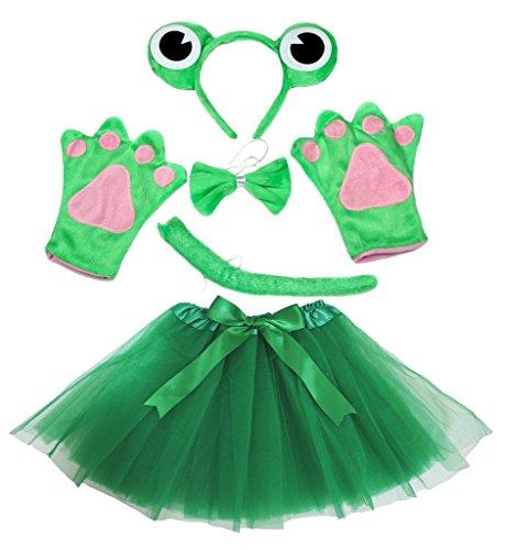 Petitebelle guantes de disfraz de rana diadema pajarita cola verde tutú conjunto para Lady
