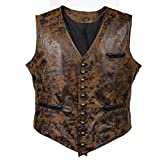 Bslingerie® Mens Steampunk Gothic Faux Leather Costume Corset Vest (XL, Brown)