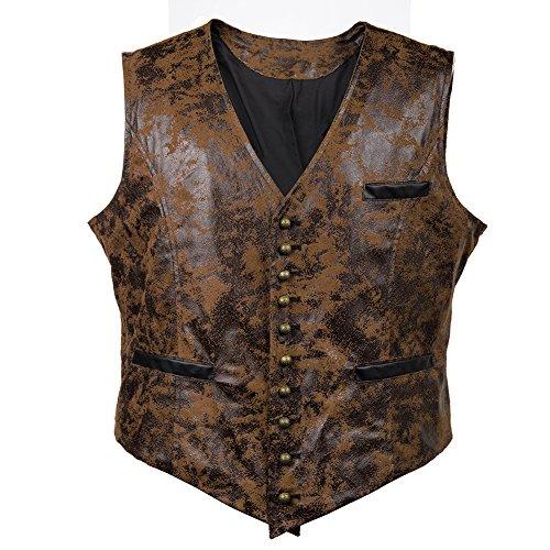 Bslingerie® Herren Steampunk Gothic Faux Leather Kostüm Korsett Weste (XXL, Braun)