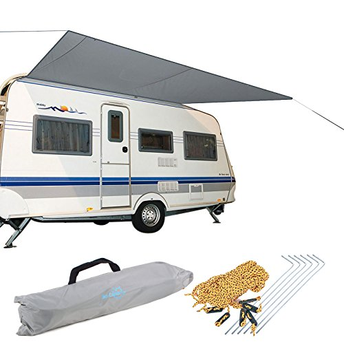 Sonnensegel für Wohnwagen & Wohnmobil grau 3,50 x 2,4 , für Kederleisten 7 mm,Wassersäule 2000 mm