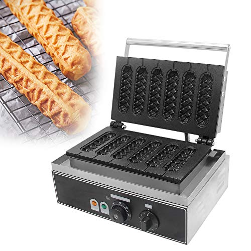 Hanchen Muffin Hot Dog Maker Baker Commercial Hot Dog Machine 6 PCS No-Stick Lolly Stick Waffle Maker for American Corn Dog - Muffin Wurst Waffeln FY-119 mit CE 220 V