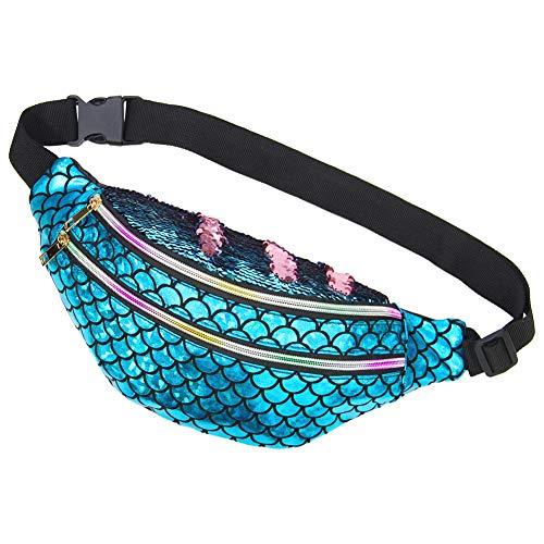 Basumee Erwachsene Meerjungfrau Bauchtasche mit Pailletten, Glänzende Sporttasche Gürteltasche Hüfttasche Mit Fischschuppenmuster, Glänzendes Blau