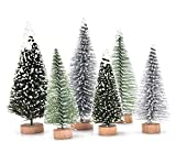 30 Pcs Mini Christmas Trees DIY Xmas Bottle Brush Trees Miniature Sisal Snow Frost Fir Small Artificial Trees Tabletop Trees with Wooden Bases Micro Scenery Landscape Trees for Christmas Party Decor
