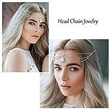 Simsly - Cadena para la cabeza con colgante de diamante de imitación, para mujeres y niñas (plateada) TTL-2