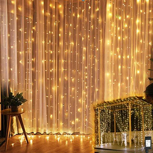 Tofu Led Lichterkette,Led Lichtervorhang,3x3m 300 Led Sterne Lichterkette Vorhang,Ip44 wasserdicht 8 Modi Lichterkettenvorhang für Vorhang, Wand, Fenster, Innen und Außen Dekoration