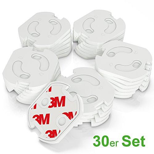 conecto Steckdosenschutz Steckdosensicherung Kindersicherung für Steckdose mit Dreh-Mechanik und vollflächigem 3M Klebeband, weiß (30 Stück)