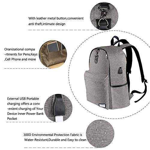 Laptop Backpack Akche Notebook Backpack with USB Charging Port Water Resistant Backpack for Men&Women, Fits 17 inch and Below Laptop/Notebook - Gray