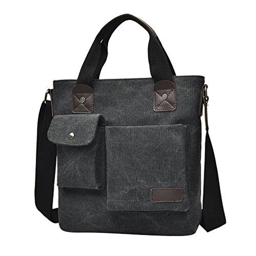 MagiDeal Sacoche En Toile Sac à Bandoulière Reglable Poches Extérieure Bagage Homme - Noir, 28x25x8 cm