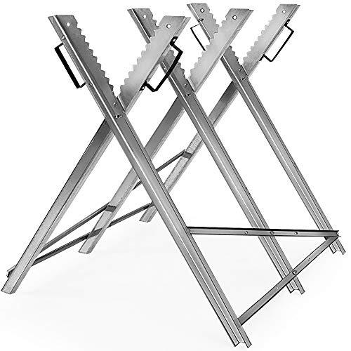 Monzana Sägebock Metall 83x81x88cm verzinkt 150kg Sägegestell Holzsägebock Säge Kettensägebock Holzbock
