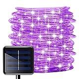picK-me Luces de Cuerda Solar, Impermeable al Aire Libre 100 LED 33 FT / 10 M, Luces de hadas, Tubo de Luz de PVC para La Fiesta de Boda del Arbol de La Cerca del Jardín (Púrpura, 10M)