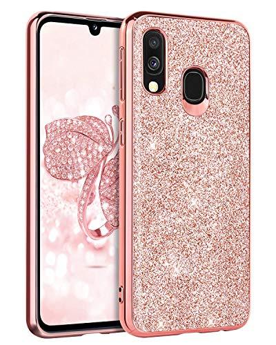 BENTOBEN Samsung Galaxy A40 Hülle, Samsung A40 Handyhülle Slim Case PC Schale mit TPU Bumper leicht dünn Kratzfest Anti Rutsch Schutzhülle Glitzer Hülle für Samsung Galaxy A40 Rose Gold