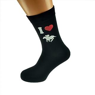 I Love Horse Racing Image Printed on Black Mens Cotton Rich Socks X6N346