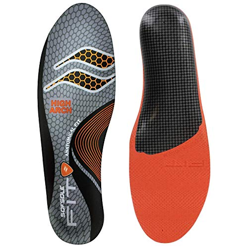 Insoles Sof Sole Unisex High Arch | Support Full Length Foam | for Men and Women | Color Grey (Women 7-8/ Men 5-6)