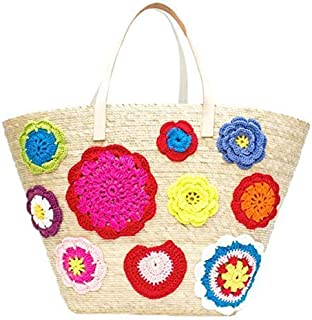 Kiki Boho   Flowers Tote, bolso de mano tejido con coloridas flores de tela de crochet