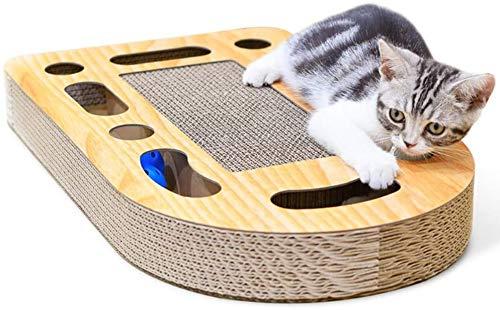 REAYOU Katzenkratzpad, 2-in-1-Trainingsspielzeug, Ballspielzeug mit Glocke, Katzenspielzeug, Kratzspielzeug aus recyceltem Wellpappe