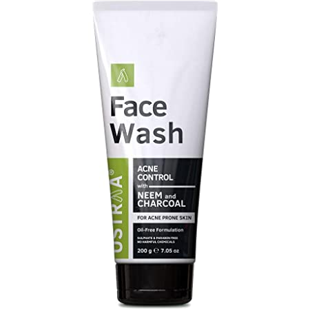 Ustraa Face Wash Acne Control for Men - 200g - Oil-Free formulation With Neem & Charcoal - Protection Against Acne & Break-Outs, No Sulphate & Paraben