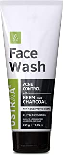 Ustraa Face Wash Acne Control for Men - 200g - Oil-Free formulation With Neem & Charcoal - Protection Against Acne & Brea...