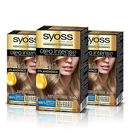 Syoss Oleo Intense - Tinte 8-50 Rubio Ceniza – Coloración permanente Sin Amoníaco – Cobertura profesional de canas – Resultados de peluquería (Pack De 3)