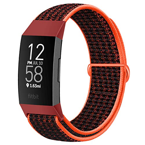 AVOD Nylon Watch Bands Compatible with Fitbit Charge 4/Charge 3/SE, Soft Replacement Wristband Breathable Sport Strap with Band for Women Men (Red Black)