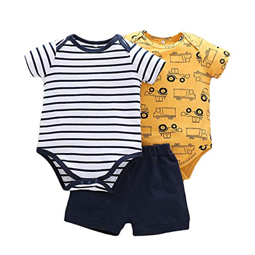 Bebé Mamelucos Pantalón 3 Pcs Peleles Trajes Manga Corta Algodón Camiseta Monos Pijama Chaleco Ropa Recién Nacido Regalo Niños Niñas 9-12 meses