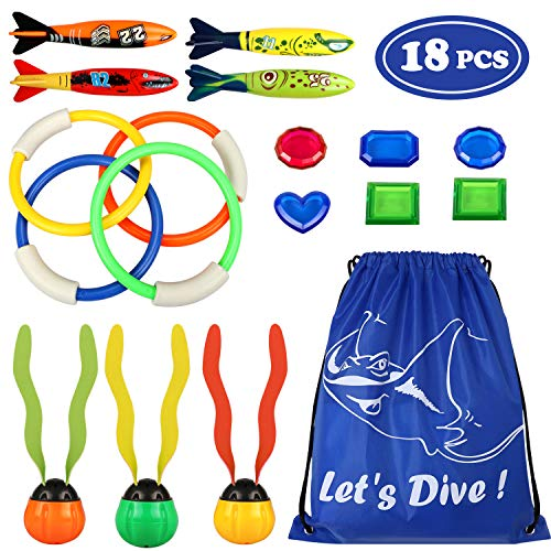 Tacobear 18Stk. Tauchspielzeug Tauchringe Torpedo Bandits Tauchbälle Tauchen Edelsteine Unterwasser Schwimmbad Pool Spielzeug Sommer Spaß für Kinder (18Stk. Tauchspielzeug)