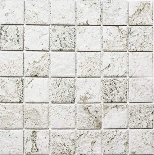 Mosaik Fliese Keramik Steinoptik Struktur hellgrau für Mosaikwand Duschwand Badewannenverkleidung Bodenfliese WC Fliesenspiegel Küchenrückwand Wandverkleidung