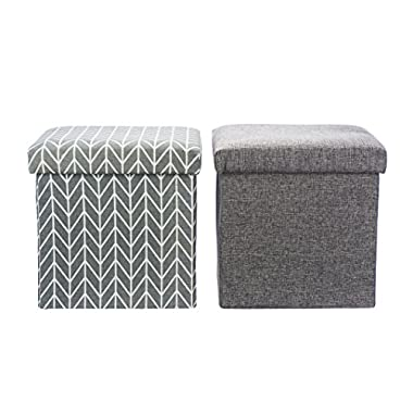 Folding Storage Ottoman - Toy Bin and Book Cube Organizer - Foot Rest Stool by Nora's Nursery