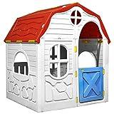 Cikonielf Casita para niños plegable con puerta y ventanas, casa de juguete para niños, multicolor, de plástico, 96 x 61 x 115 cm