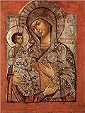 Posterlounge Alubild 70 x 90 cm: Ikone der gesegneten Jungfrau mit DREI Händen von Novgorod School/Bridgeman Images
