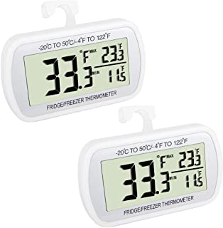 Waterproof Refrigerator Fridge Thermometer, Digital Freezer Room Thermometer, Max/Min Record Function Large LCD Screen and Magnetic back for Kitchen, Home, Restaurants (2 White)