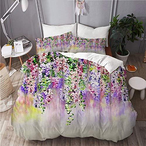 GeGe Juego de Funda nórdica de 3 Piezas de fácil Cuidado y 2 Fundas de Almohada, Flores de Cerezo de Primavera japonesas Azules Florales, Elegante Funda de edredón de Microfibra de Calidad de Lujo