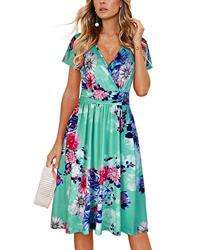 OUGES Women's Summer Short Sleeve V-Neck Pattern Knee Length Dress with Pockets(Floral03,L)