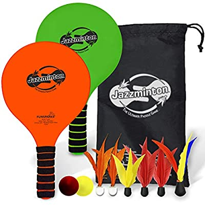 Paddle Ball Game Jazzminton Deluxe with LED Birdie - Indoor/Outdoor Game for Kids, Teens and Adults by Funsparks