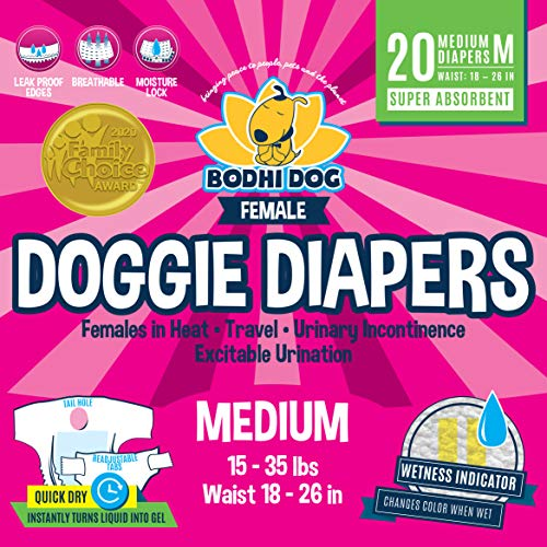 Disposable Dog Female Diapers | 20 Premium Quality Adjustable Pet Wraps with Moisture Control & Wetness Indicator | 20 Count Medium Size