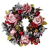 Thermoses 15' Door Wreaths, Artificial Peony Hydrangea Flower Front Door Wreaths for Spring and Summer All Seasons Floral Wreath Round Twigs Vine Hanging for Farmhouse Office Home Wedding Decor