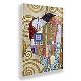 Giallobus - Cuadro - Gustav Klimt - El Abrazo de los Amantes - Lienzo - 70x100 - Listo para Colgar - Cuadros Modernos para el hogar