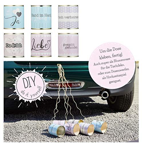 Bada Bing 6er Set DIY Aufkleber Hochzeitsdosen Verschiedene Sprüche Sticker für Hochzeitsspiel Dosenwerfen Tischdeko Anhänger für Auto Brautwagen Hochzeit Geschenk 00