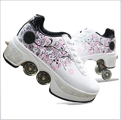 Wedsf 2 in 1 Deformation Roller Schuhe Rollschuhe Studenten Roller Turnschuhe Rädern Laufschuhe Sneakers Rollen Skate Shoes Skateboard Schuhe,36
