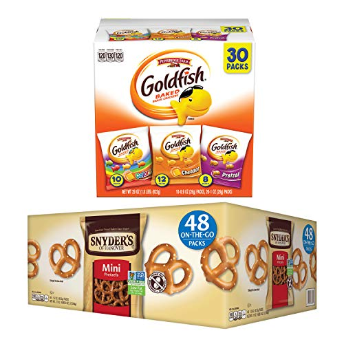 Snacks Bundle with Pepperidge Farm Goldfish Crackers Classic Mix Variety Pack (30 Snack Packs) and Snyder's of Hanover Mini Pretzels (48 Snack Packs)