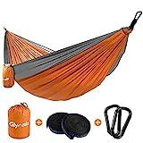 Glymnis Amaca da Giardino Amaca da Campeggio Capacità di Carico 300kg con Kit di Fissaggio Tessuto 210T 300x200 cm per Campeggio Giardino Escursioni Arancione-Grigio